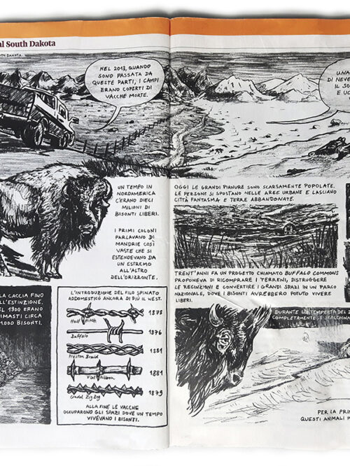 """Graphic Journalism: """"Postcard from South Dakota"""", for Internazionale #1270"""